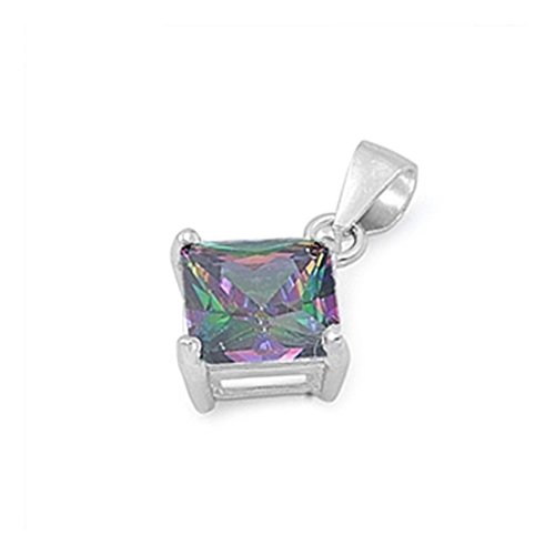 (Blue Apple Co. Solitaire Pendant for Necklace Princess Cut Square Simulated Rainbow Topaz 925 Sterling Silver)