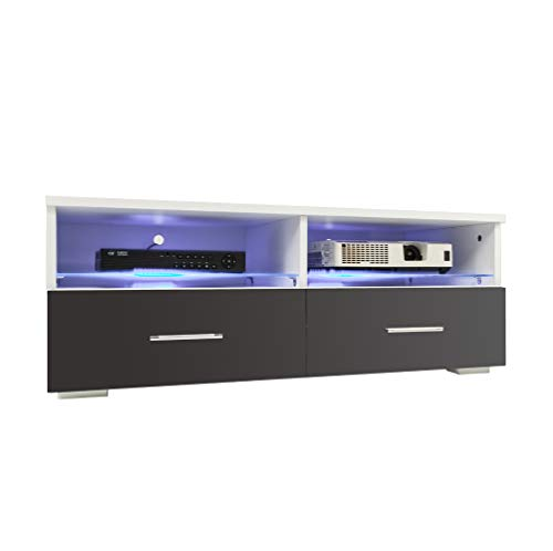 Goujxcy LED TV Cabinet - Nordic Style TV Stand with Contemporary TV Entertainment Center, for Living Room Storage Furniture with LED Shelf and Drawers