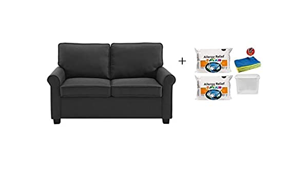 57 Loveseat Sleeper With Memory Foam Mattress Includes 2 Set Hypoallergenic Polyester Fiberfill Firm Pillow 12 Pcs Cleaning Cloths And 1 Plastic