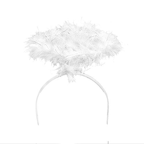 DAZONE Feather Angel Halo Headband Fancy Xmas Party Dress Headwear Costume (White) -
