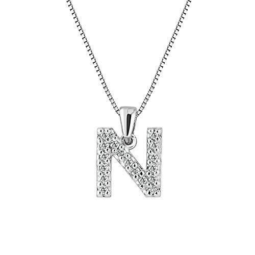14k White Gold Letter N Diamond Initial Pendant Necklace (1/10cttw) with 18-inch chain by Diamond Wish