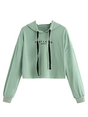 SweatyRocks Women's Letter Print Long Sleeve Crop Top Sweatshirt Hoodies 1-Green L