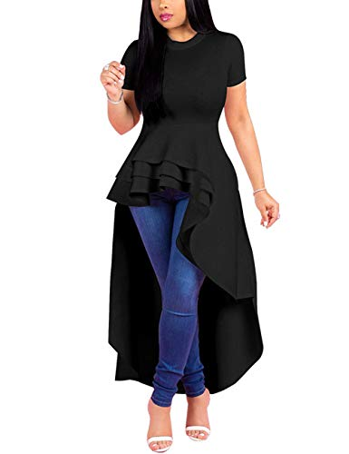 Lrady Women Ruffle High Low Asymmetrical Short Sleeve Peplum Tops Blouse Shirt Dress Black ()
