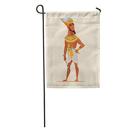 Semtomn Garden Flag Yellow Happy Smiling Young Egyptian Pharaoh Dressed Golden Flat Cartoon Home Yard House Decor Barnner Outdoor Stand 12x18 Inches Flag]()