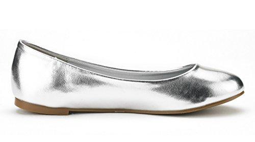DREAM PAIRS Damen Sole Einfache Ballerina Walking Wohnungen Schuhe Silber Pu