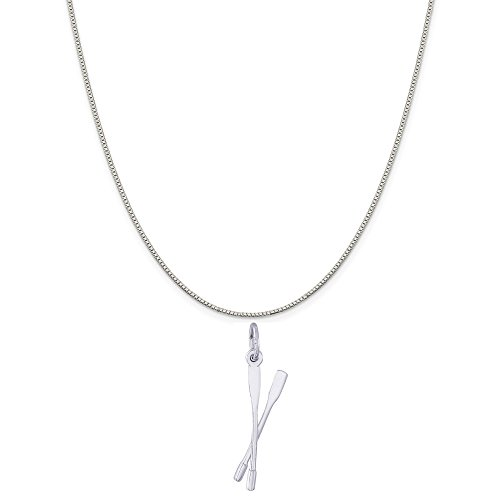 Rembrandt Charms Sterling Silver Crew Oars Charm on a Sterling Silver Box Chain Necklace, 20