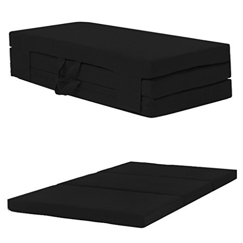 Folding Sleepover Foam Guest Mattress Cube Seat with Carry Handles,...