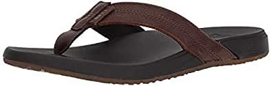 Reef Men's Sandals Cushion Bounce Phantom Leather | Flip Flops for Men with Cushion Bounce Footbed, Black/Brown, 6