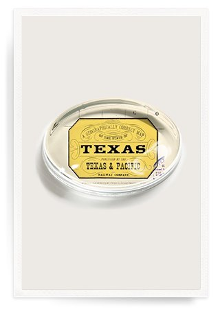 Vintage Texas Crystal Oval Paperweight