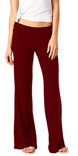 82 Days Womens Casual Stretch Wide Straight Leg Palazzo Lounge Pants Made in USA Burgundy XL ()