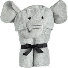 Yikes Twins Children's Elephant Hooded Towel Ages 2-8Yrs Grey