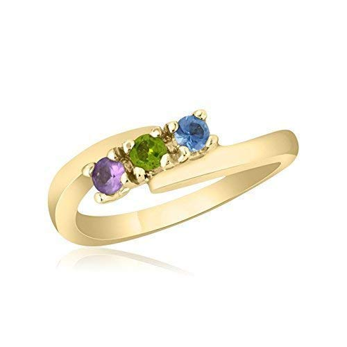 10K Yellow Gold Mother's Day Ring - 3 Birthstone Family - Ring Gold Mothers 10k
