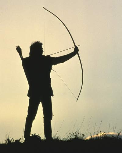 (Kevin Costner in Robin Hood: Prince of Thieves iconic in silhouette aiming crossbow 16x20 Poster)