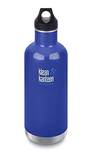 Stainless Steel Double Loop - Klean Kanteen 32oz Classic Stainless Steel Water Bottle with Klean Coat, Double Wall Vacuum Insulated and Leak Proof Loop Cap - Coastal Waters (NEW 2018)