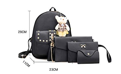 4 Black School Rivet Bag Set 23x11x29cm Pcs Backpack White Women Zwq4Z6rBA