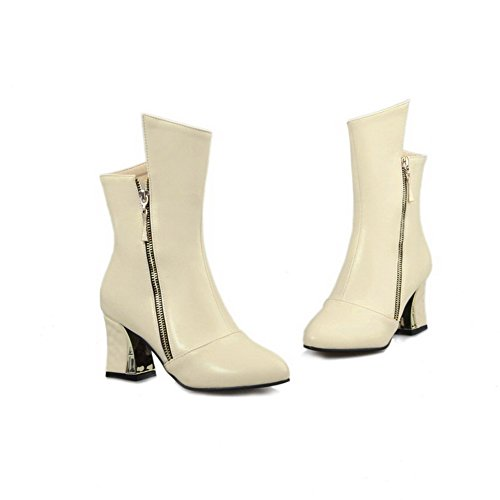 VogueZone009 Damen Mittler Absatz Weiches Material Mitte-Spitze Reißverschluss Stiefel, Cremefarben, 43