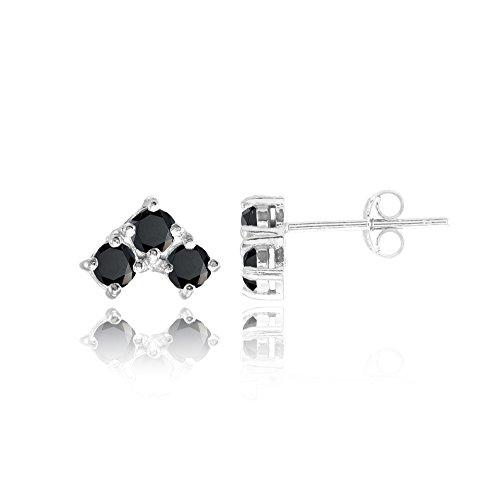 3 Stone Hoop Earrings (Sterling Silver Black Cubic Zirconia 3-Stone Triangle Stud Earrings)