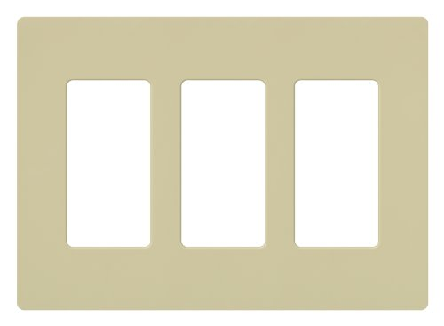 Lutron CW-3-IV Claro 3-Gang Wallplate, Ivory (Ivory Switch Plate)