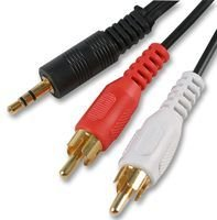 Aptii 3.5mm Jack to 2 x RCA Phono Audio Cable Gold 5m Lead