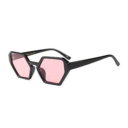 sol de tamaño Nuevo Vintage Negro gran Inlefen hombres gafas moda mujeres polígono de Rosa gafas sol gafas diseño de Retro BTXBgqI