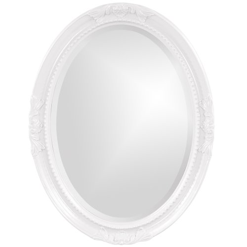 Howard Elliott Queen Ann Mirror, Hanging Beveled Oval Wall Mirror, Glossy White -