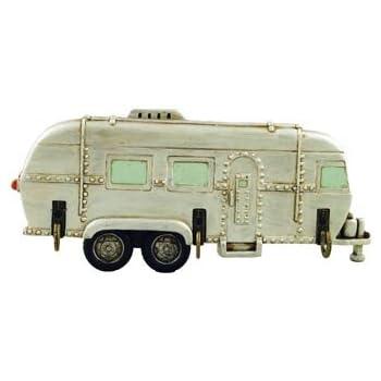 """Key Holder 3 Hook Rack, Vintage Trailer RV Camper Wall Plaque Sculpture, 8"""""""