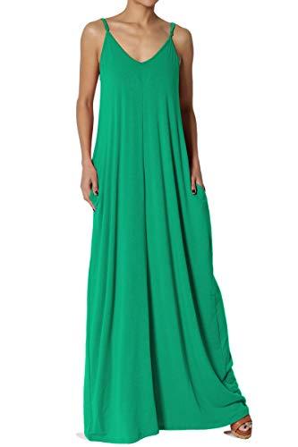 TheMogan Women's V-Neck Draped Jersey Cami Long Maxi Dress with Pocket Kelly Green - Green Kelly Polyester