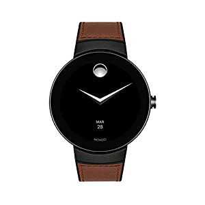 Movado Connect Digital Smart Module Black PVD Smartwatch, Grey/Black & Brown Strap (Model 3660019)
