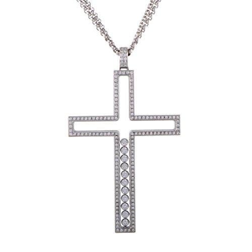 Chopard Happy Diamonds 18K White Gold Full Diamond Pave Floating Diamonds Large Cross Pendant Necklace