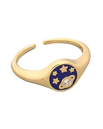 - Sidecca Saturn Planet & Star Enamel Small Ring (Navy)