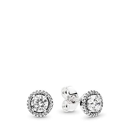 PANDORA - Round Sparkle Stud Earrings in Sterling Silver with Clear Cubic Zirconia (Authentic Stud Earrings)