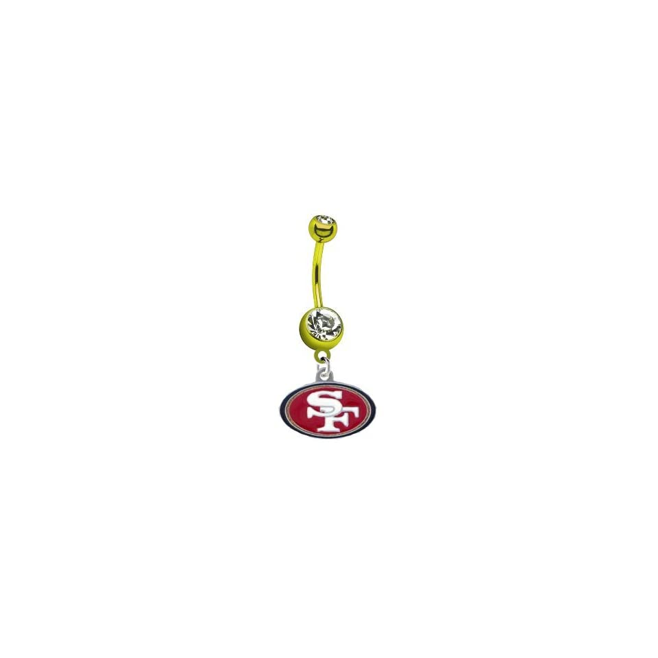 San Francisco 49ers NFL PREMIUM Gold Titanium Anodized Sexy Belly Navel Ring Jewelry