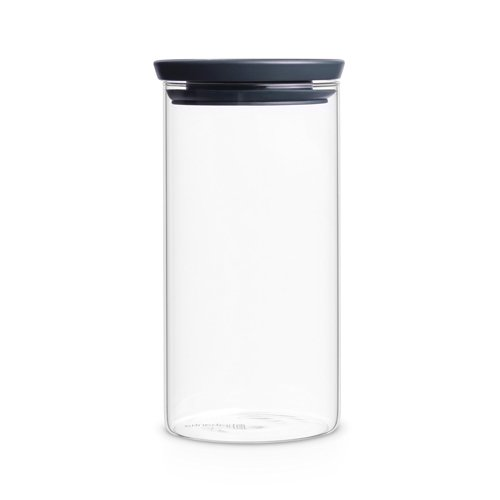 Glass Stackable (Brabantia Stackable Glass Jar, + Grey Lid, for Storage, Accessories, 1.1l, 298264)