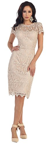 May Queen MQ1253 Classy Mother of The Bride Short Dress (XL, Champagne)