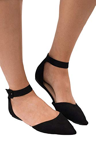 Suede Like Peep Toe - LAICIGO Womens Ankle Buckle Strap Slip On Cut Out Low Heel Closed Toe Summer Flats Shoes