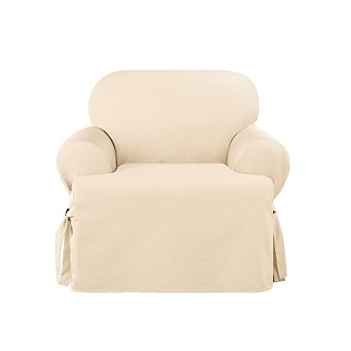 (Sure Fit Heavyweight Cotton Duck One Piece Chair Slipcover - Natural (SF41860) (Natural, Chair))