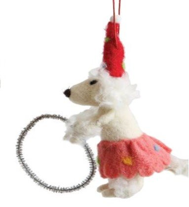 On Holiday Wool Poodle, Red Polk-a-Dot Hat with Silver Hoop Circus Animal Christmas Tree Ornament