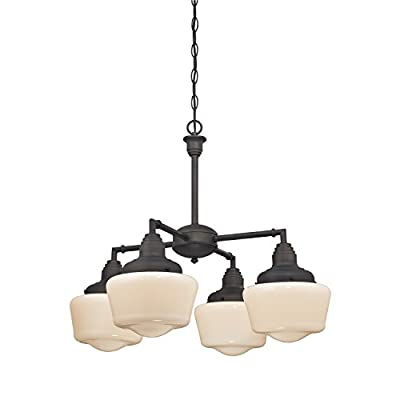Westinghouse 6342000 Scholar Four-Light Indoor Convertible Chandelier/Semi-Flush Ceiling Fixture, Oil Rubbed Bronze Finish with White Opal Glass