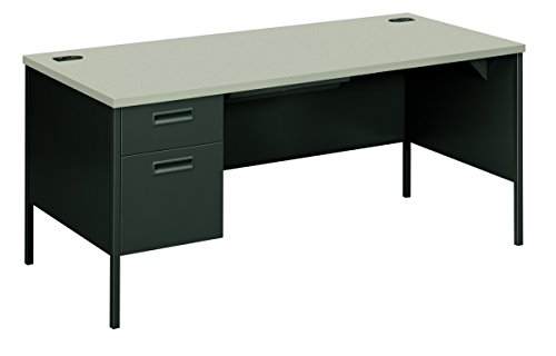 """HON Metro Classic Laminate Office Desk - Left Pedestal Desk with File Drawer, 66"""" W, Gray/Charcoal (HP3266L)"""