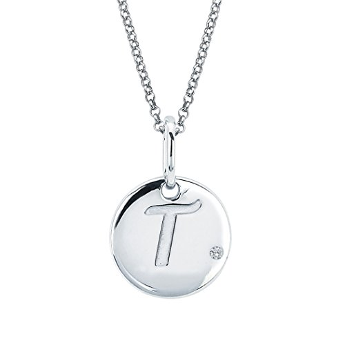 Little Diva Diamonds Sterling Silver Diamond Accent Disc 'T' Initial Pendant Necklace