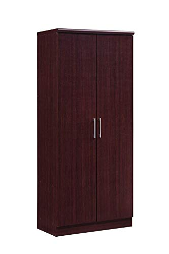 SHIJIAN Two Door Wardrobe, with Two Drawers, and Hanging Rod, with 4-Shelves in White Wardrobe - White/Mahogany (Color : ()