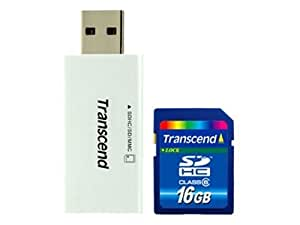Transcend 16 GB SDHC Class 6 Flash Memory Card with Card Reader TS16GSDHC6-S5W