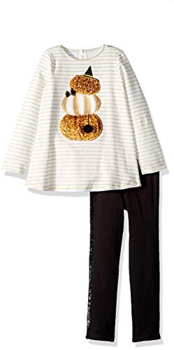 Mud Pie Girls' Little' Halloween Pumpkin Tunic & Legging 2 Piece Set, White, 2T ()