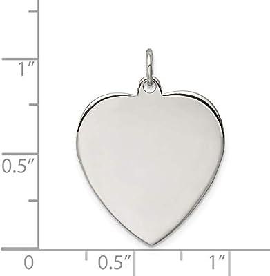 925 Sterling Silver Engraveable Heart Pendant Love Disc Charm Custom Satin Polished
