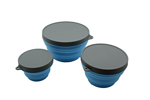 Sailing Premium Collapsible Silicone Food Storage with Lids, Camping, Traveling, Pets, Hiking, Backpacking Bowl, Set of 3 Collapsible Silicone