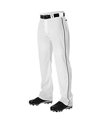 (Alleson Men's Warp Knit Braided Baseball Pant White/Black)