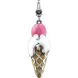 Jambs Jewelry Enamel Ice Cream Cone Charm ()