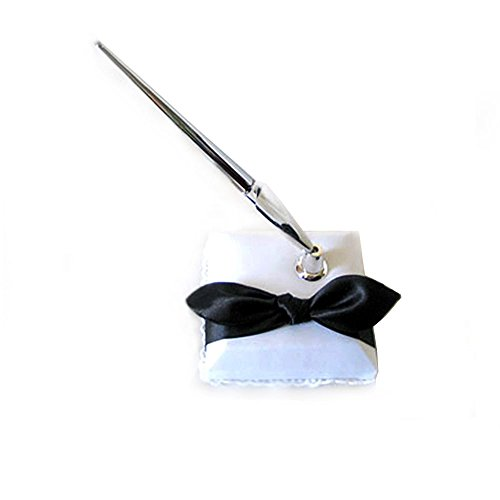 (SACASUSA ( TM ) Elegant White Bridal Wedding Pen Set with Black Satin Bow)