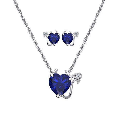(14k Gold Plated Heart Cut Created Blue-Sapphire Devil Pendant Necklace and Earrings Set for Womens)