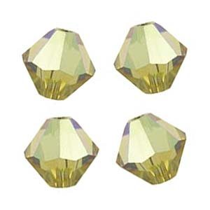20 BICONE 6mm Swarovski LIME 5301 Crystal Beads.